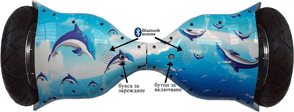 ховърборд 10 инча цвят морски изглед отдолу с обяснения